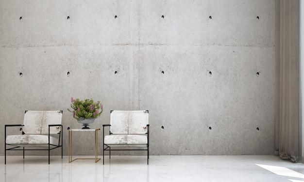 Nowoczesny salon na poddaszu i betonowa ściana tekstury tła wnętrza