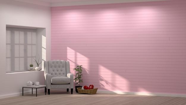 Nowoczesny salon różowy fotel różowa dekoracja ścienna, lampa stojąca walentynkowa