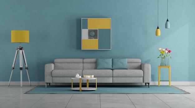 Nowoczesny salon w pastelowych kolorach z sofą i lampą podłogową