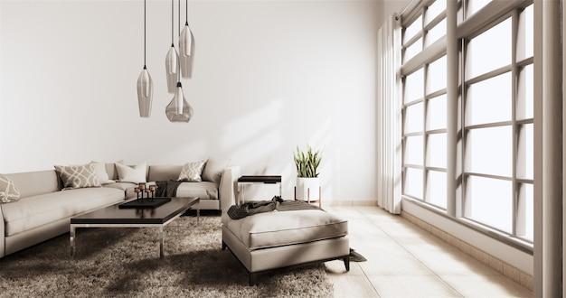 Nowoczesny salon z białą ścianą na drewnianej podłodze i kanapie