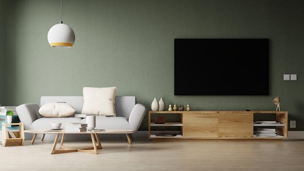 Nowoczesny salon z białą sofą ma szafkę i drewniane półki na drewnianej podłodze i białej ścianie