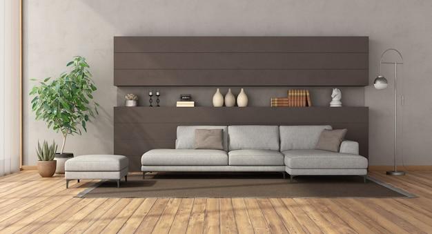 Nowoczesny salon z białą sofą na brązowej betonowej ścianie
