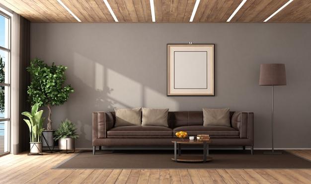 Nowoczesny salon z brązową skórzaną sofą