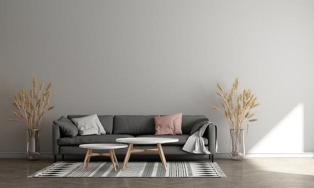 Nowoczesny salon z dekoracją i pustą makietą ściany w tle, renderowanie 3d