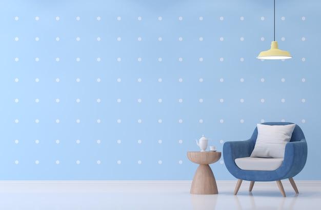 Nowoczesny salon z niebieską i białą tapetą w kropki render 3d wyposażony w niebieski fotel
