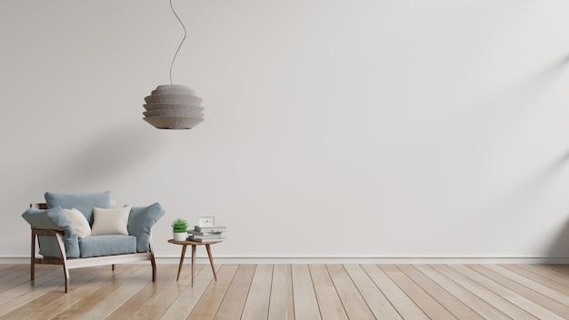 Nowoczesny salon z niebieskim fotelem i drewnianymi półkami na drewnianej podłodze i białej ścianie.