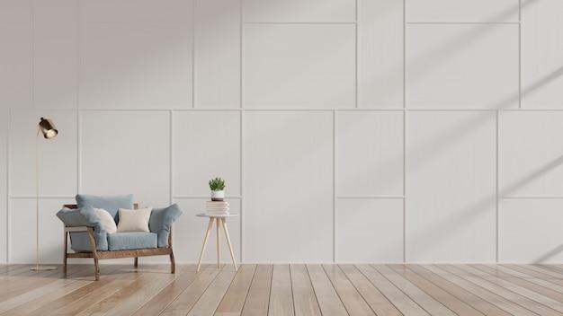 Nowoczesny salon z niebieskim fotelem i półkami z drewna na drewnianej podłodze i białej ścianie.