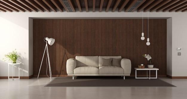 Nowoczesny salon z nowoczesną sofą na drewnianych boazeriach