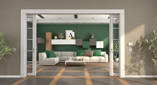 Nowoczesny salon z przesuwanymi drzwiami i elegancką sofą