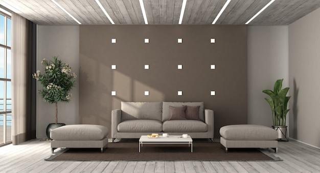 Nowoczesny salon z sofą i podnóżkiem