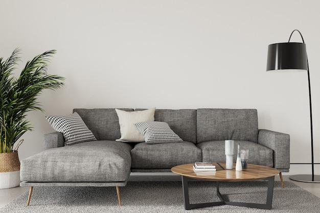 Nowoczesny salon z sofą i poduszką oraz rośliną