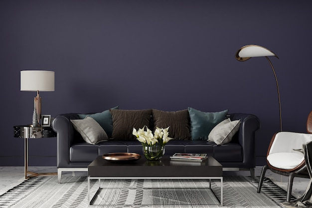 Nowoczesny salon z sofą i wystrojem