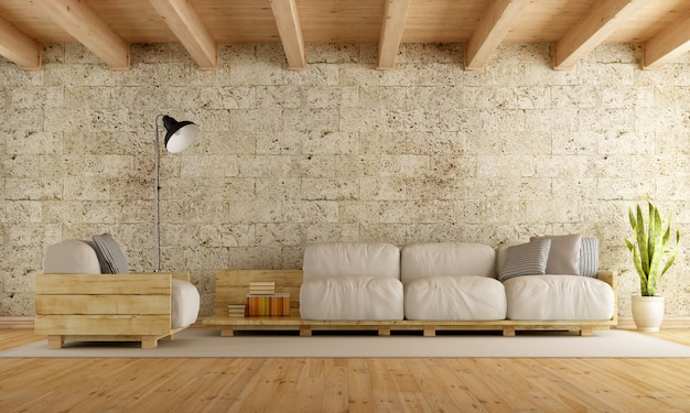 Nowoczesny salon z sofą na palecie