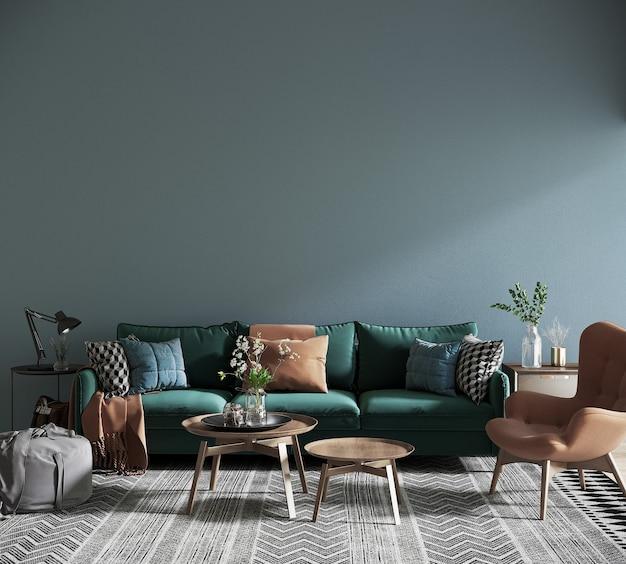 Nowoczesny salon z sofą przed niebieską ścianą
