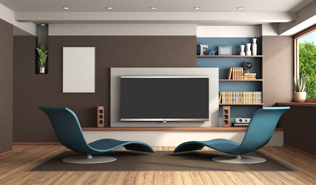 Nowoczesny salon z systemem kina domowego