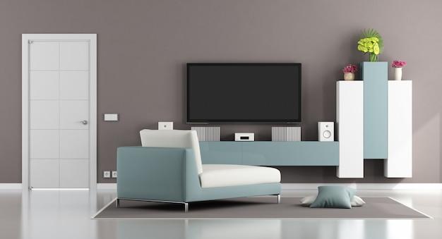 Nowoczesny salon z telewizorem