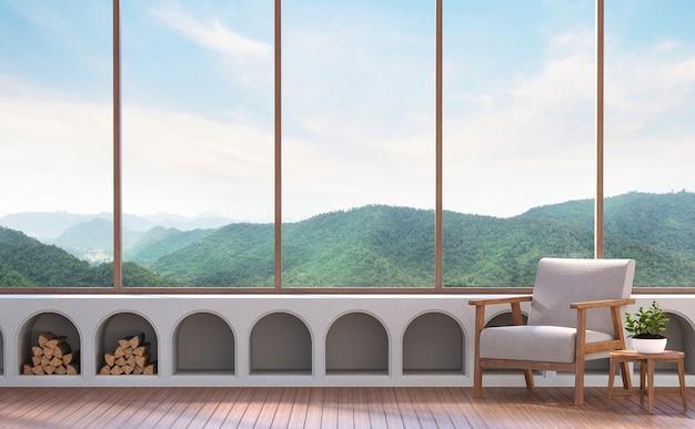 Nowoczesny salon z widokiem na góry 3d render wyposażony w tkaniny i drewniane meble