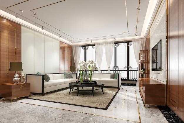 Nowoczesny salon z wystrojem w stylu chińskim