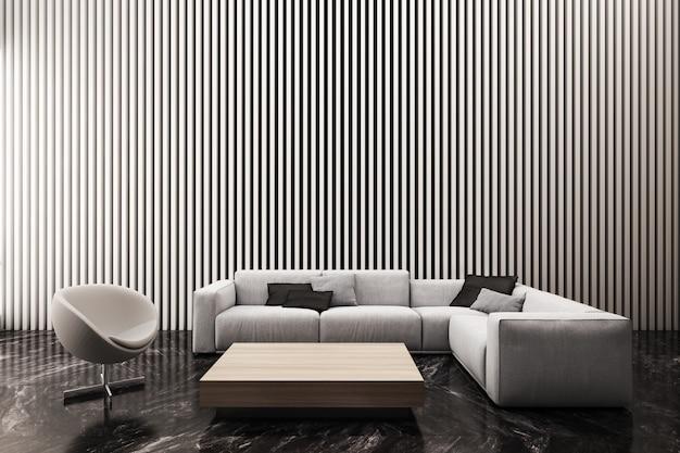 Nowoczesny salon zdobi ścianę białym wzorem pionowych listew