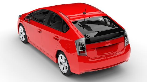 Nowoczesny samochód rodzinny hybrydowy czerwony na białym tle z cieniem na ziemi. renderowanie 3d.