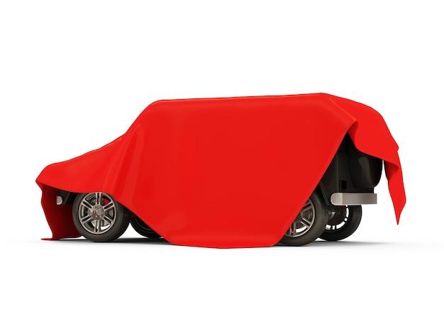 Nowoczesny samochód suv pokryty czerwonym materiałem