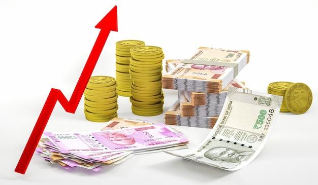 Nowoczesny skład inwestycyjny symbol rupii indyjskiej