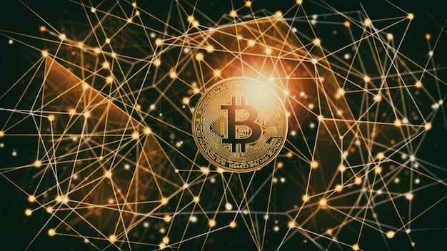 Nowoczesny sposób wymiany. bitcoin to wygodna płatność na globalnym rynku gospodarki. wirtualna waluta cyfrowa i koncepcja handlu finansowego inwestycji. streszczenie kryptowaluta ze złotym tłem bitcoin.
