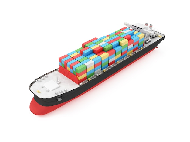 Nowoczesny statek tankowiec cargo na białym tle. renderowanie 3d