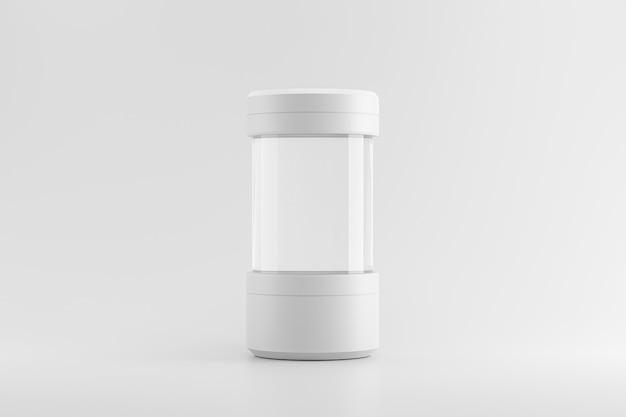 Nowoczesny stojak na cokół lub probówkę na pustym produkcie z koncepcją laboratorium. nowoczesny wyświetlacz lub wystawa na szablonie platformy studyjnej. renderowanie 3d.