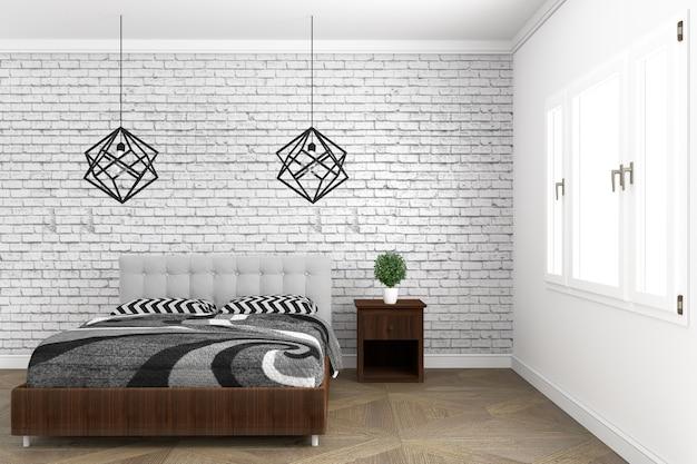 Nowoczesny styl nowoczesny pokój z drewnianą podłogą i ceglany mur tło