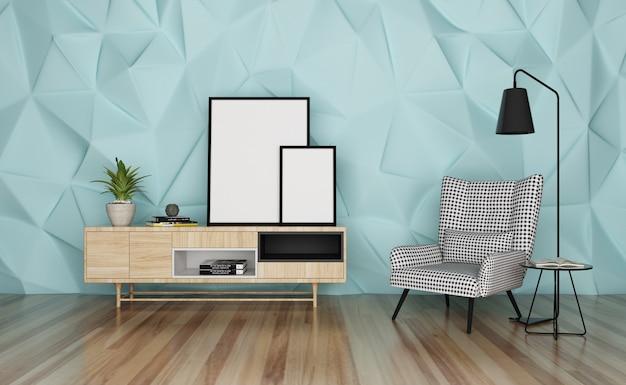 Nowoczesny styl wnętrza domu i wyświetlanie ramki do zdjęć