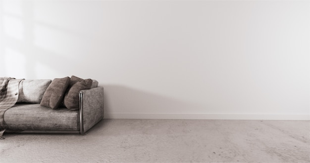 Nowoczesny styl z białą ścianą na drewnianej podłodze i rozkładanym fotelem na dywanie