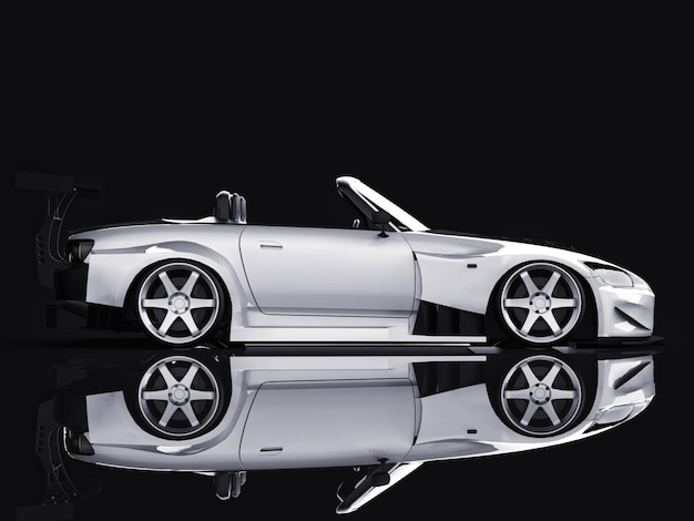Nowoczesny szary metalik sportowy kabriolet otwarty samochód z tuningiem