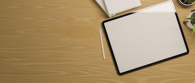 Nowoczesny tablet w makiecie pustego ekranu na drewnianym stole z miejscem na kopię do montażu 3d rende