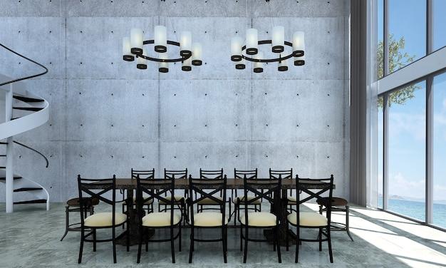 Nowoczesny wystrój i makiety wnętrza pokoju i jadalni na poddaszu oraz tło betonowej ściany