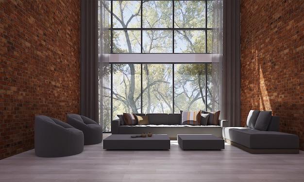 Nowoczesny wystrój i makiety wnętrza pokoju i salonu oraz tła ściany z czerwonej cegły