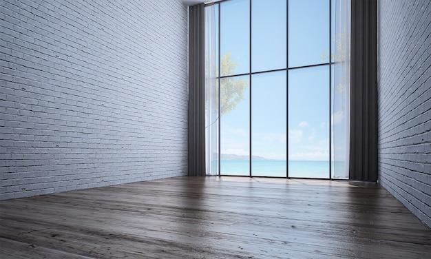 Nowoczesny wystrój i makiety wnętrza pokoju oraz pusty salon i ceglany mur w tle