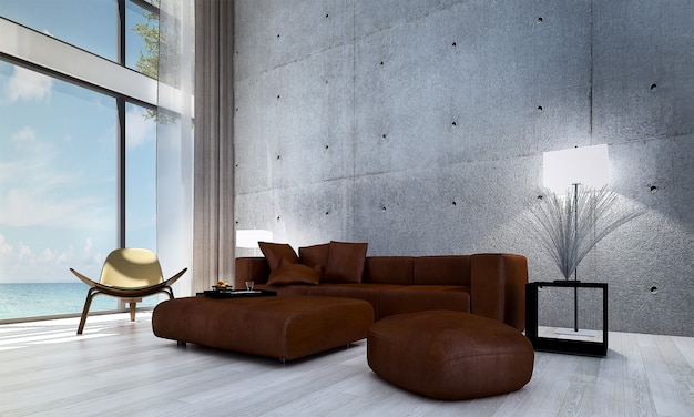 Nowoczesny wystrój i makiety wnętrza pokoju oraz pusty salon i tło betonowej ściany