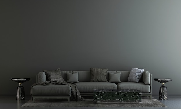 Nowoczesny wystrój i wnętrze salonu i mebli makiety i czarne tło tekstury ściany