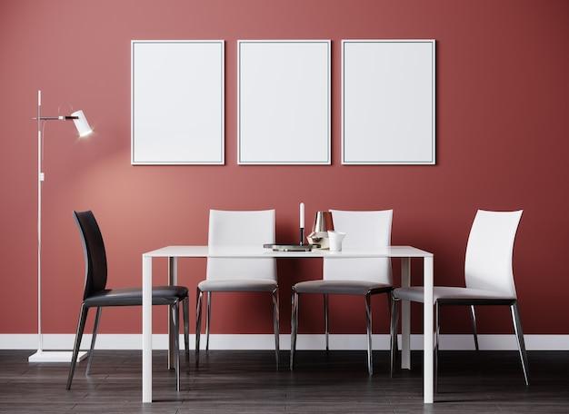 Nowoczesny wystrój pokoju ze stołem i białymi krzesłami