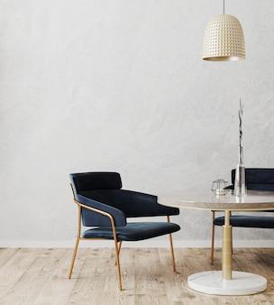 Nowoczesny wystrój pokoju ze stołem i ciemnoniebieskimi krzesłami, drewnianą podłogą i szarą dekoracyjną ścianą gipsową, kawiarnia, koncepcja restauracji, tło wnętrza jadalni, renderowanie 3d