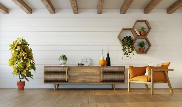 Nowoczesny wystrój salonu z drewnianymi meblami i krokwiami, renderowanie 3d