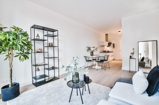 Nowoczesny wystrój strefy wypoczynkowej z jasnoszarymi miękkimi meblami z poduszkami i ozdobnymi stolikami na dywanie w przestronnym mieszkaniu z białymi ścianami