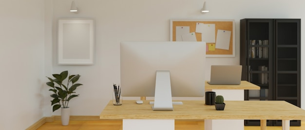 Nowoczesny wystrój wnętrz biurowych z biurkami komputerowymi, szafkami, tablicą ogłoszeń i dekoracjami renderowania 3dd