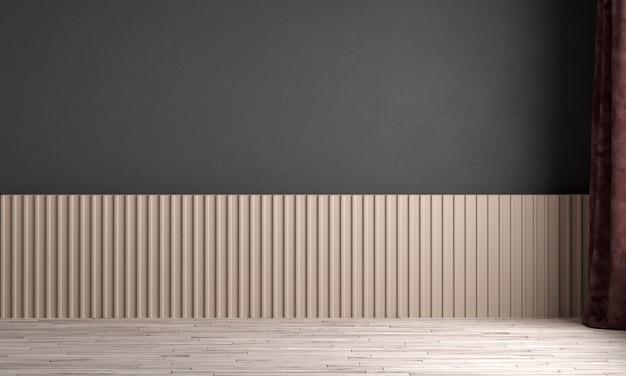 Nowoczesny wystrój wnętrz i makiety pokoju z pustym salonem i czarną teksturą ściany