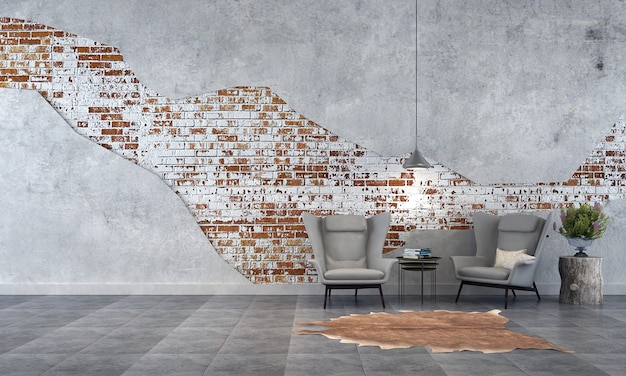 Nowoczesny wystrój wnętrz salonu na poddaszu i tło tekstury ściany z cegły