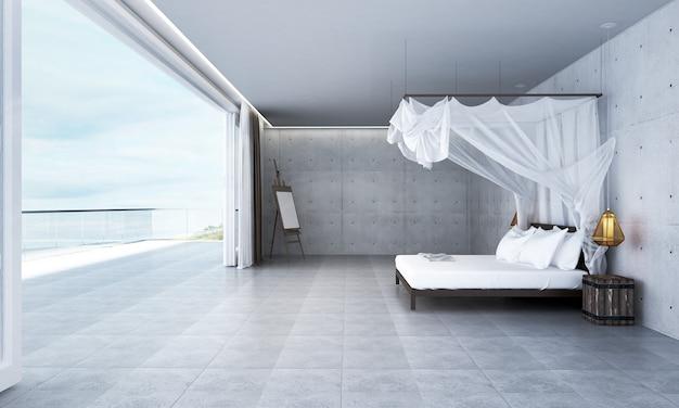Nowoczesny wystrój wnętrz sypialni na poddaszu i tło z widokiem na morze