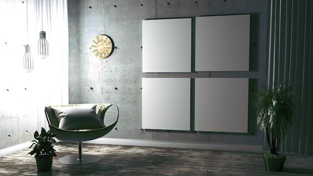 Nowoczesny wystrój wnętrz w stylu loft. renderowanie 3d