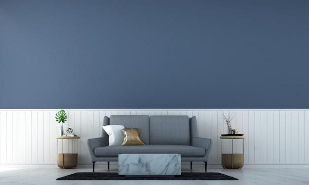 Nowoczesny wystrój wnętrza salonu i biały i niebieski kolor tekstury tła ściany