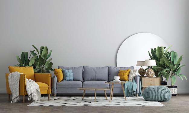 Nowoczesny wystrój wnętrza salonu z dekoracją i pustą makietą ścienną w tle, renderowanie 3d, ilustracja 3d